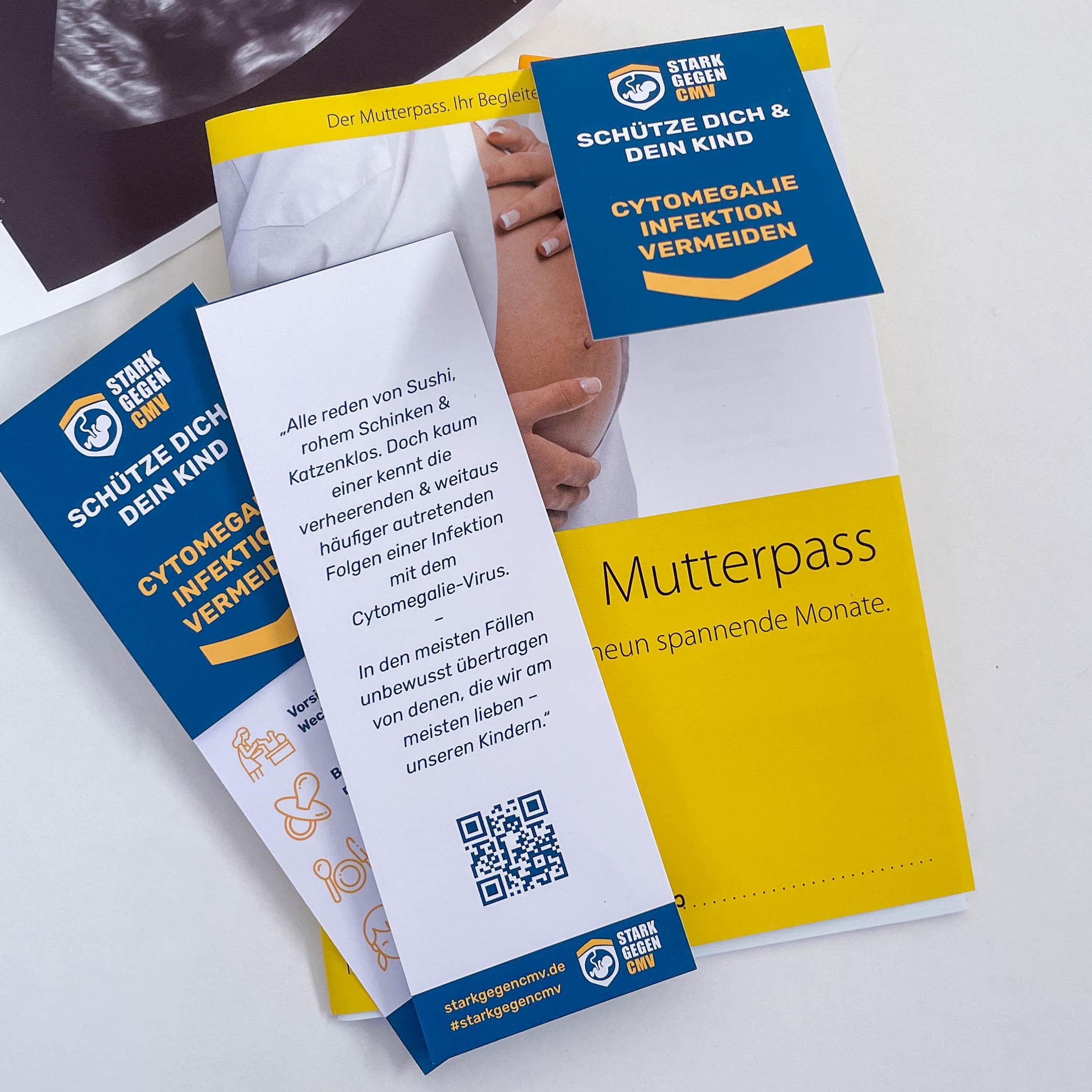 Starkgegencmv Flyer und Lesezeichen